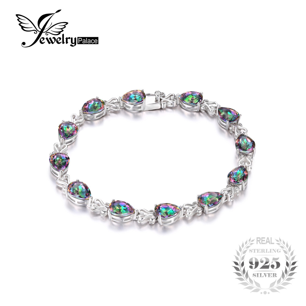 JewelryPalace Pear Luxury 25.4ct Genuine Rainbow Fire Mystic Topaz Solid 925 Sterling Silver Jewelry Tennis Bracelet Women - Jewelrypalace Gemstones store