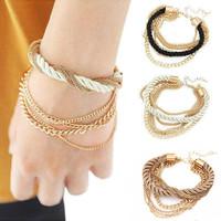 Luxury Gold Chain Bracelet For Women 2015 Vintage Jewelry Brand Multilayer Rope Bracelets & Bangles