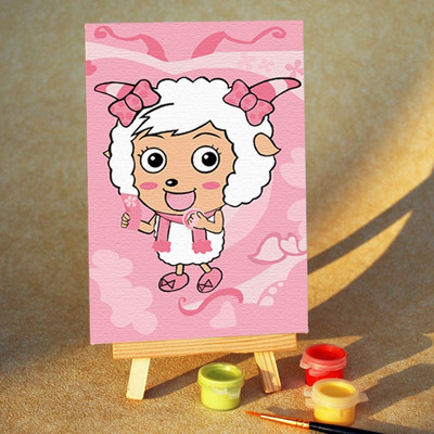 Diy digital oil painting diy hand painting oil painting child cartoon painting female goat 10 15 small easel
