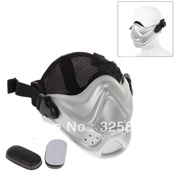 Free shipping! Comfortable Half Face Mask Facial Protective Guard Shield with Adjustable Strap for Outdoor Activities - Silvery(China (Mainland))