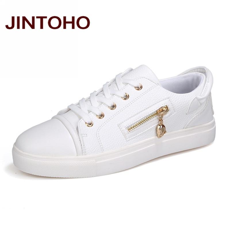 jintoho autumn fashion casual shoes white zip
