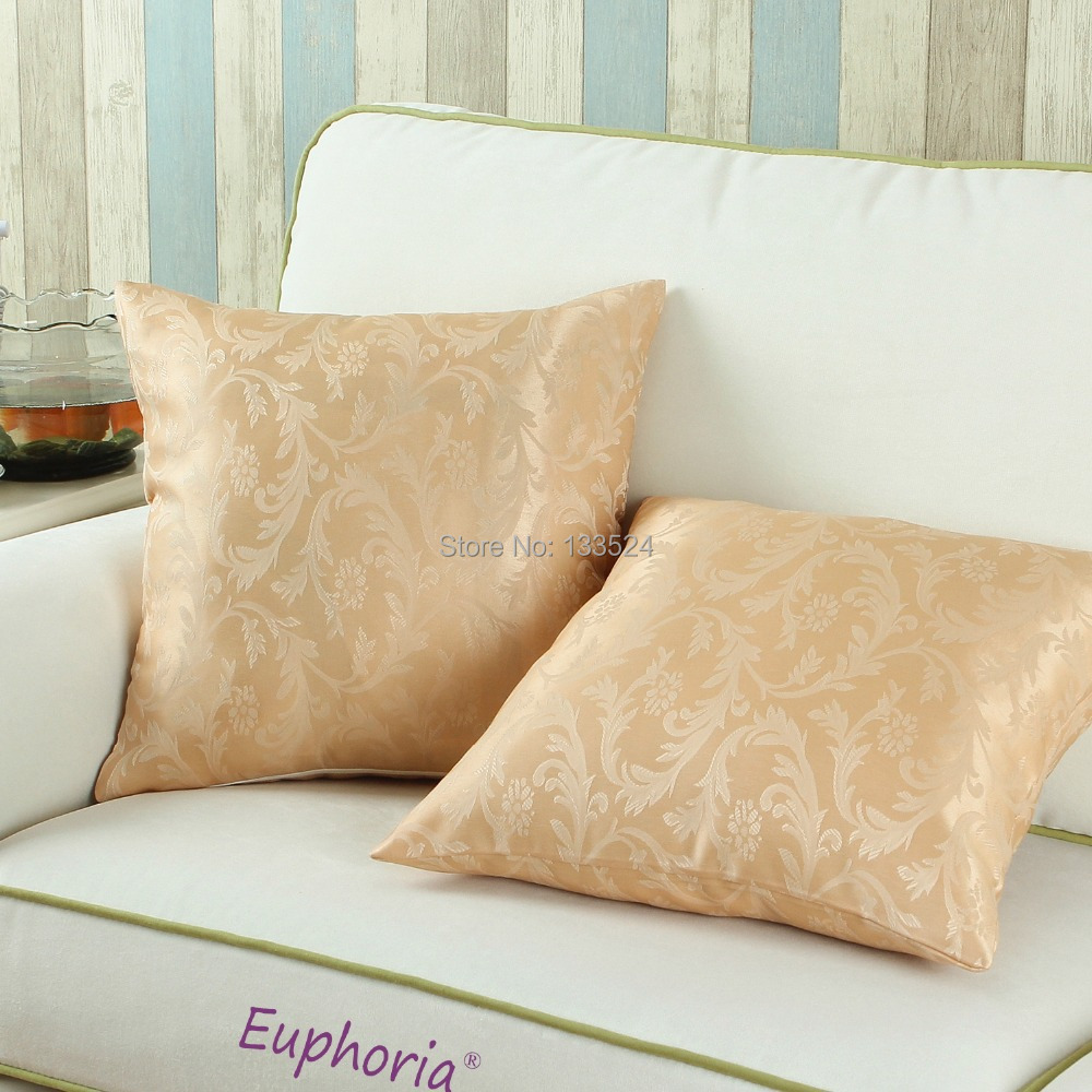 Luxury Decorative Bed Pillows : Decorative Pillows Shell Cushion Cover Home Sofa Decor Bedding Set Luxury Gold Leaves Jacquard ...