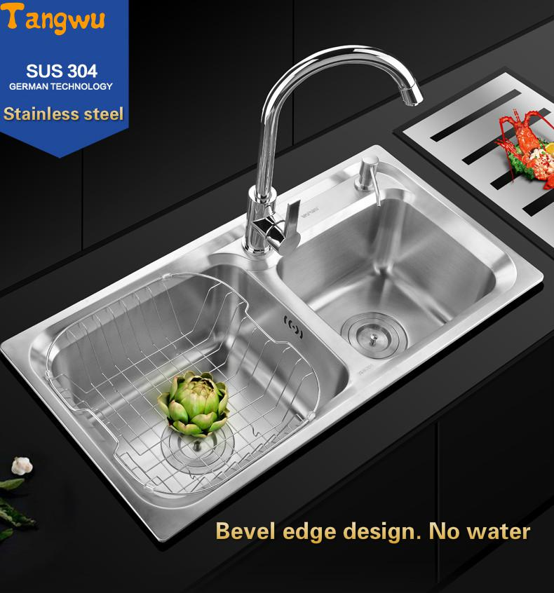 Tangwu bwash dish, double bath, stainless washing dishes drawing and forming Kitchen Sinks(China (Mainland))