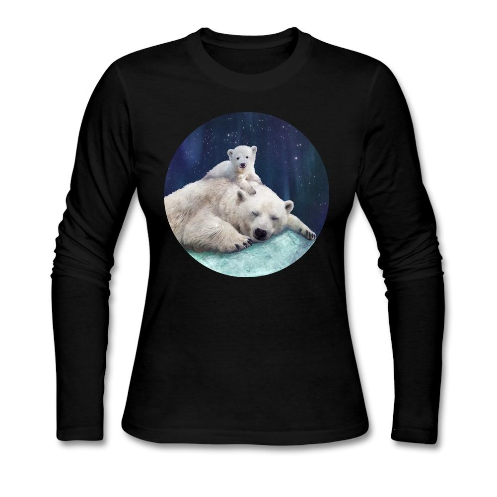 Screen Print Polar Bears T Shirt Women Custom Long Sleeve Girlfriend's Plus Size Couple Under Tee Shirts(China (Mainland))