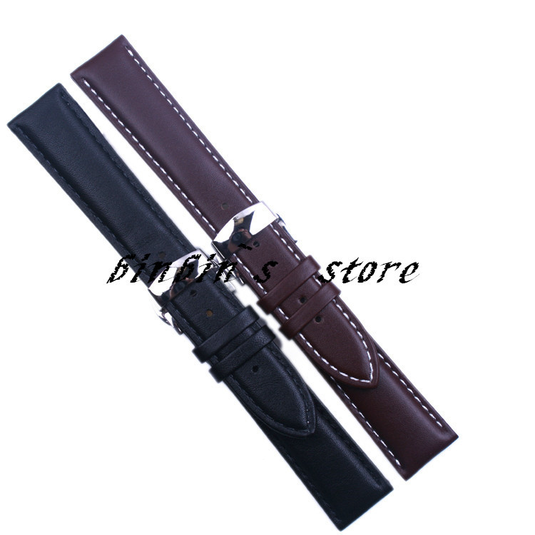 18mm 19mm 20mm 22mm Men/Women Black Brown(white stitches) Soft Genuine Leather Watch Band Stainless Steel Buckle Clasp Bracelet - binbin's store(No.1 store)