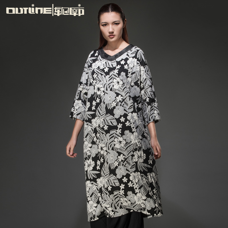 Outline Brand Women Autumn Dress Cotton V-neck Long Dresses Three quarter Sleeve Loose White Flower Pattern Dress L143Y016(China (Mainland))