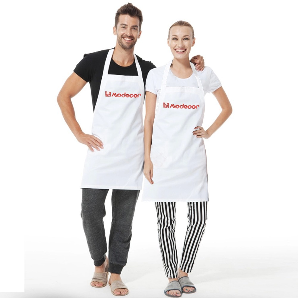 Free Shipping Apron Cotton Sleeveless Red Embroidery Kitchen Craft/ Commercial Restaurant 1 pcs/lot Brief Solid White Avental(China (Mainland))
