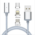 Nylon 3 in 1 Magnetic Micro USB Adapter For Lightning Sync Data Cable Fast Charging For
