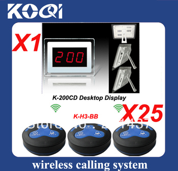 low price 1set Wireless waiter call system with 25pcs H3-BB button and 1 receiver transmitted 300m in open area