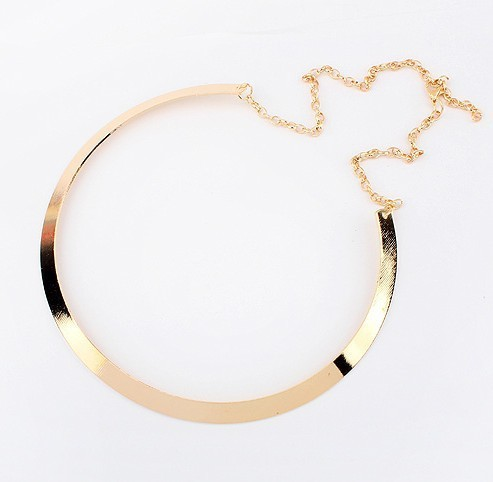 Hot Sell Vintage Fashion Big Gold Plated Metal Link Chain Choker Pendant Necklace For Women Short