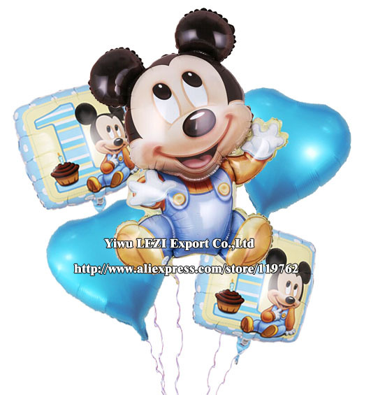 Mickey Mouse Happy birthday balloon decoration cartoon party foil Combination suit 5 pcs/lots - LEZI Export Co.,Ltd store