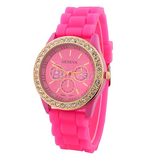 Fashion Geneva Wristwatch Vintage Golden Crystal Rhinestone Watches Silicone Strap Quartz Wrist Watch Ladies Women 03QB - Fan's Jewerly Store store