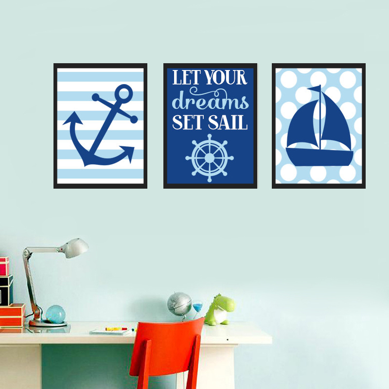 BOY NAUTICAL Wall Art, Blue Baby Boy, Let Your Dreams Set Sail Oil Painting Wall Art Picture Canvas Art Kids Room Decor No Frame(China (Mainland))