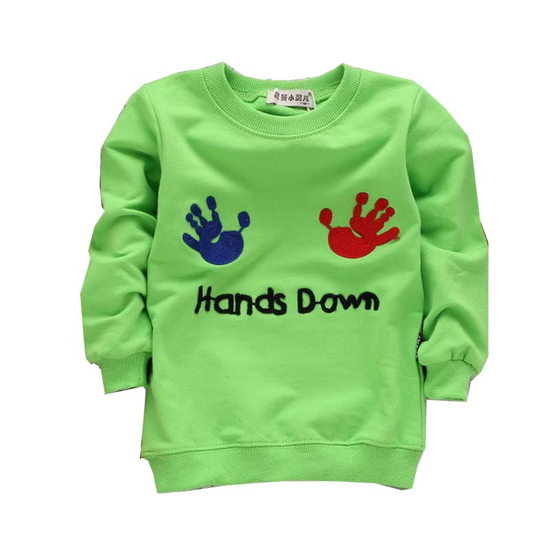 Wholesale New 2017 Autumn Children's Clothing T-Shirt Boys Cartoon Hands Letter Sweatshirt 5 Color Boys Clothes Aged 1-4 Years