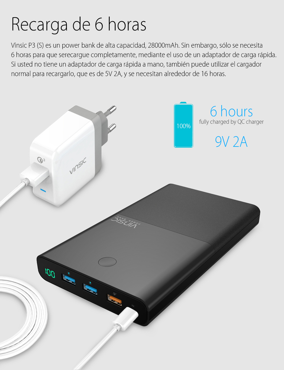Vinsic Terminator P3(S) 28000mAh Power Bank 18650 QC3.0 Quick Charge 3 USB External Backup Battery for Samsung Xiaomi Tablet PC