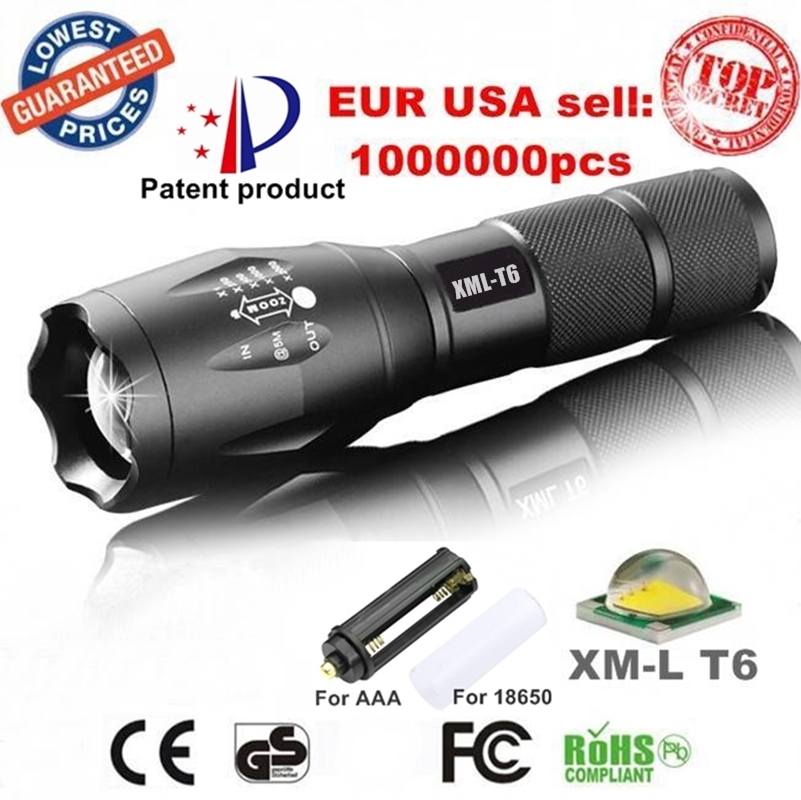 USA E17 XM-L T6 3800LM Tactical cree led Torch Zoomable LED Flashlight light AAA 1xRechargeable 18650 battery - Shenzhen LionKing technology co., LTD store