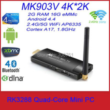 MK903V RK3288 Android4.4 Quad-Core Mini PC Cortex A17 MaliT764 H.265 4K 2G/8G WiFi HDMI Bluetooth TV Stick Dongle(China (Mainland))