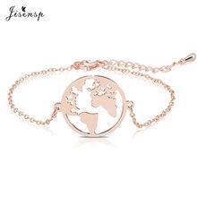عقد من Jisensp بتصميم خريطة العالم الأوريغامي من الفولاذ المقاوم للصدأ للسيدات مجوهرات بسيطة عقد دائري قلادات المعلقات هدية يوم الأرض بيجو فام(China)