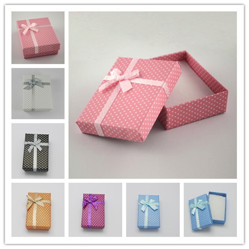 12pcs Cardboard Jewelry Set Boxes for Necklaces and Pendants with Bowknot Outside and Sponge Inside Rectangle 90x70x30mm(China (Mainland))