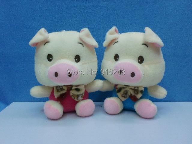 6pcs/set 18cm Big Head Pig With Bow Tie Short-pile Velour Plush Doll Cartoon Animal Stuffed Toys Baby Children Christmas Gifts(China (Mainland))