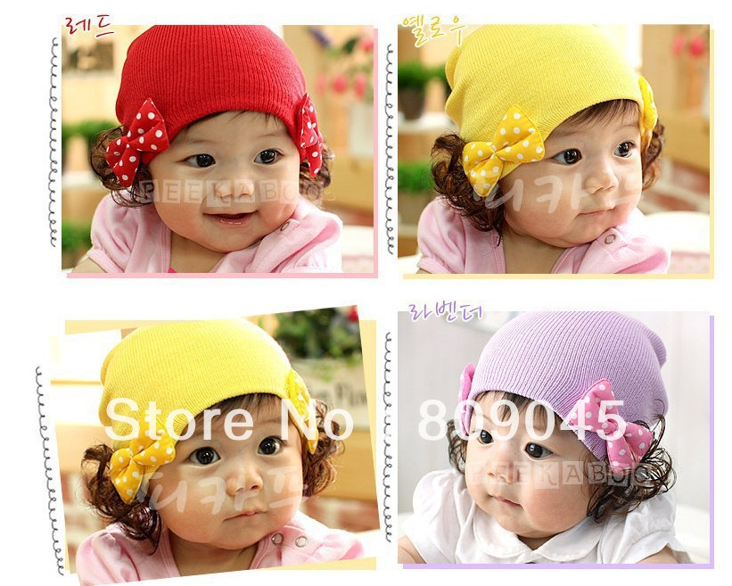 Winter warm knitted hats for boy/girl/kits hats infants caps beanine for chilldren Ear protection Double bow wig cap ZA13-10pcs(China (Mainland))