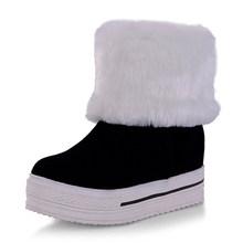 BONJOMARISA 2020 hiver grande taille 34-43 femmes plate-forme cheville neige bottes sans lacet fourrure bottes chaussures femme hauteur augmentant(China)