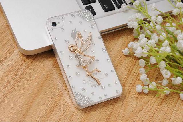 Fashion Women Fashion Luxury Crystal Bling Design 3d Workaman Ship Angel Girls Back Diamond Case for iphone4 4s accessory