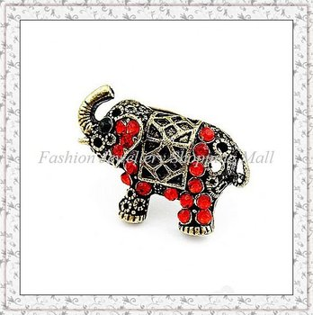 Free Shipping Costume Fashion Elephant Ring Jewellry with Red Rhinestone JZ-084