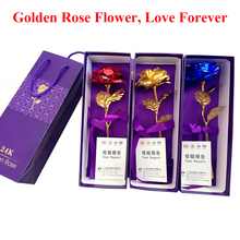 24K Gold Foil Plated Rose Lover's Golden Artificial Rose Flower Jewelry Valentine's Day Craft Birthday Wedding Patty Gift(China (Mainland))