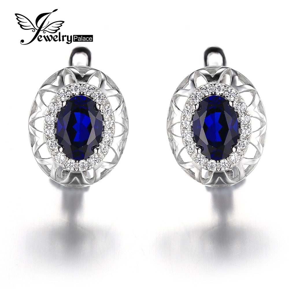 2016 New Fashion Brand 2.5ct Gem Blue Sapphire Earrings Hoop Women Sets Genuine Pure 925 Sterling Solid Silver - Jewelrypalace store
