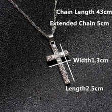Wyprzedaż stop krzyż kryształ wisiorek naszyjnik Iced Out Rhinestone krucyfiks Charm naszyjnik biżuteria Drop Shipping(China)