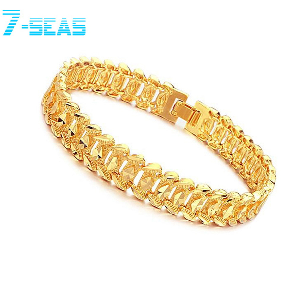 Wrist Chain 18k Gold Plated Noble Men's Bracelets New Design Bangle Attractive Men Jewelry Anti-allergic - 7seas Fashion Worldwide Mall store