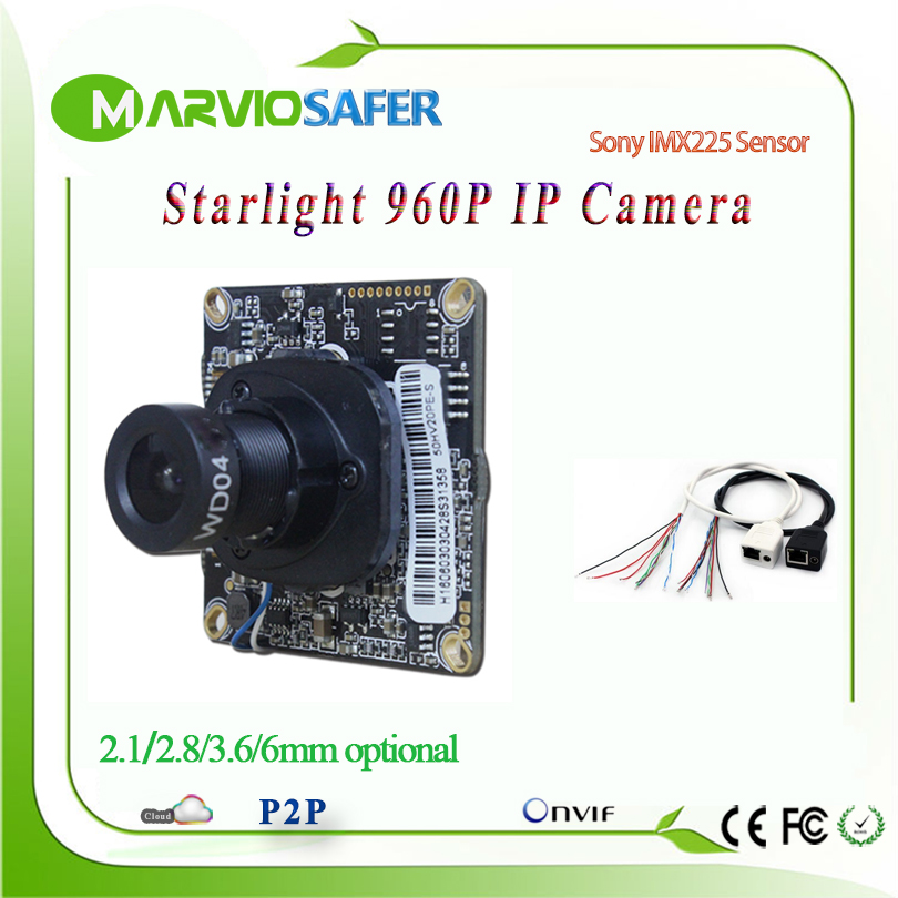 2.8/3.6/6/8mm Lens 960P HD 1.3MP Starlight IP camera Network Module Colorful Night Vision Sony IMX225 Sensor CCTV IPCAM Board