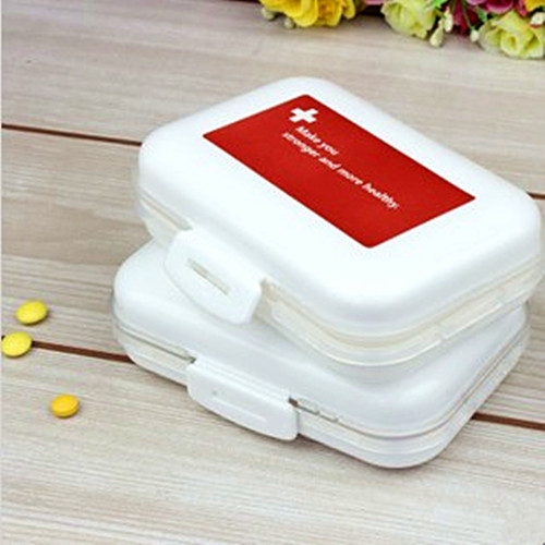 100pcs/lot 8 drug plastic storage box portable sealed waterproof double layer kit