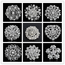 10pcs/lot Brooches For Wedding Bijoux Wedding Broches Fashion Vintage Women Rhinestone Brooch Crystal Flowers Brooches Pins(China (Mainland))