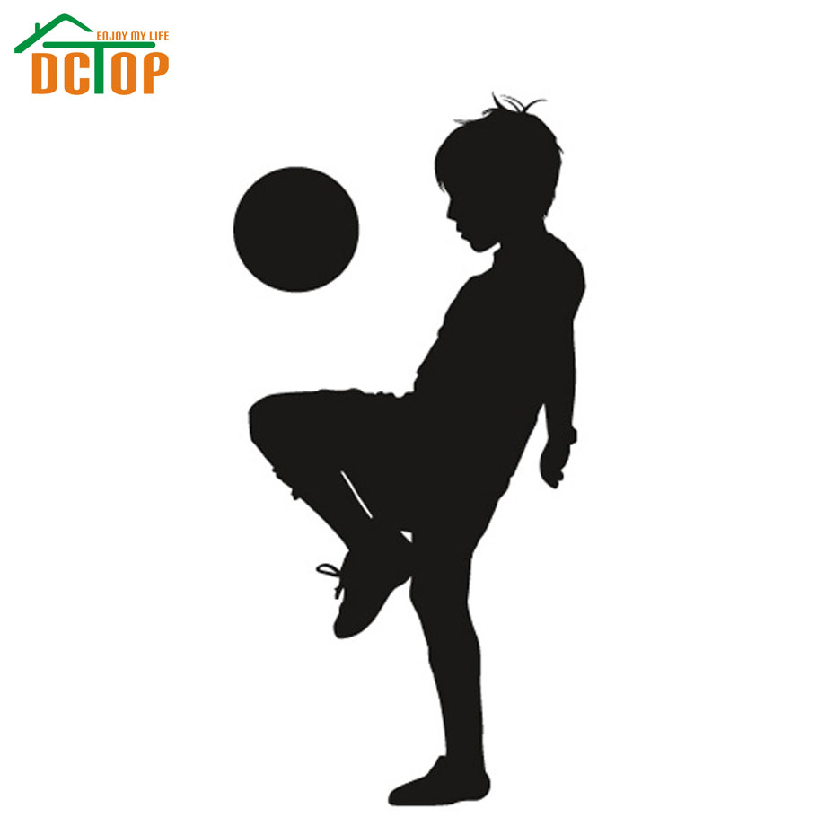 DCTOP A Boy Playing Football Wall Sticker Silhouette Boys Room Wall Decor Vinyl Art Removable Wall Decals(China (Mainland))