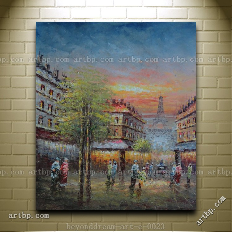 Street Scene Near Paris Eiffel Tower Oil Painting Impressionism Cityscape Black And Red Paintings Paintings Canvas Free S(China (Mainland))