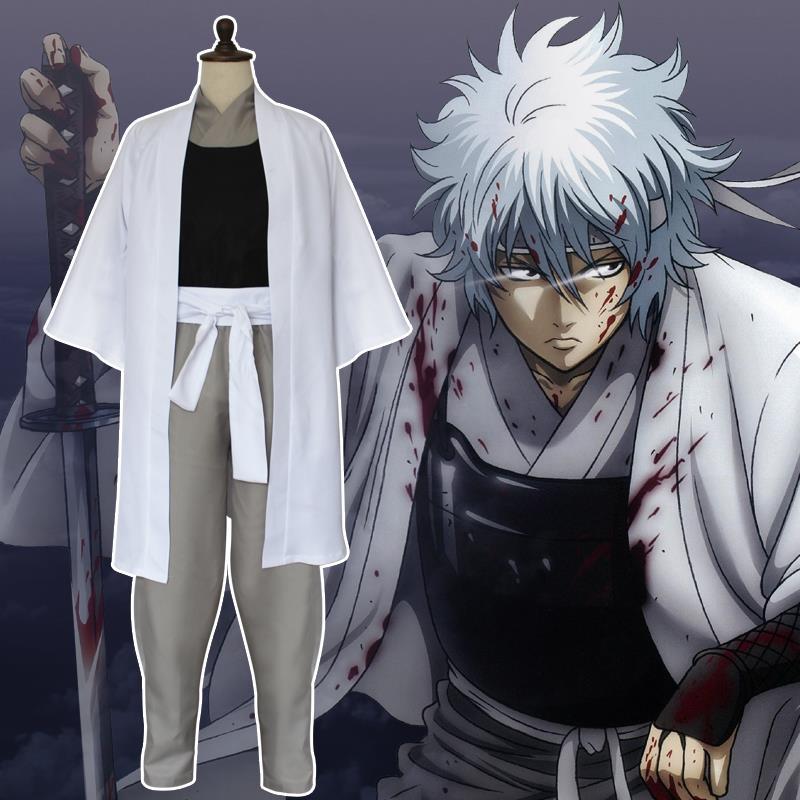 New Japan Anime Gintama Movie Cosplay Costumes Silver Soul Sakata Robe Cloak Set(China (Mainland))