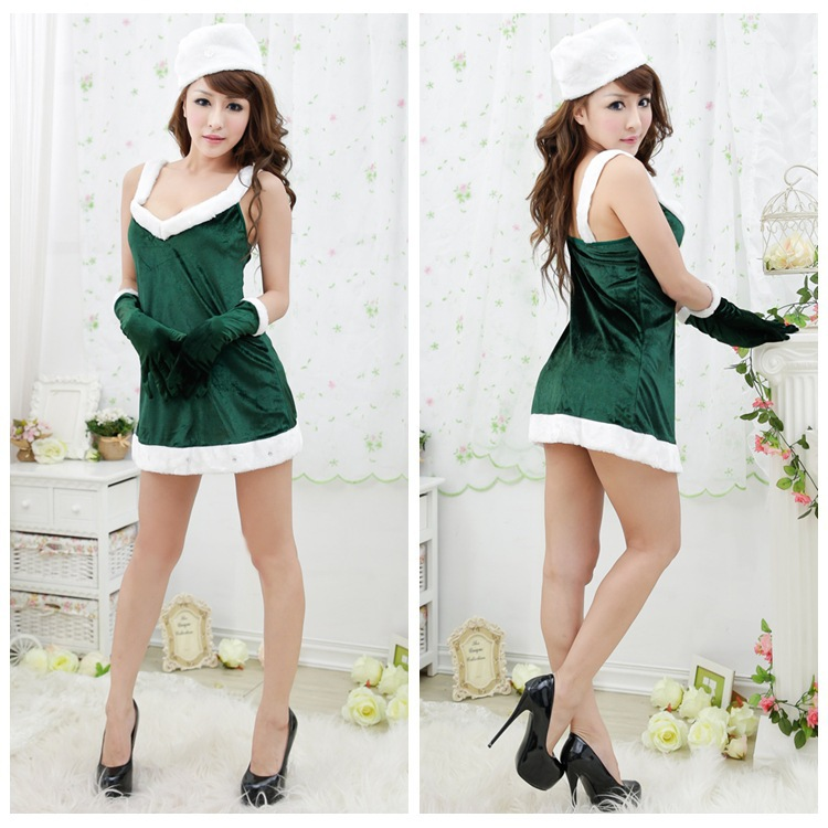 Deep green christmas dress suspender V Christmas princess dress uniform taste our studio stage clothing clothing<br><br>Aliexpress