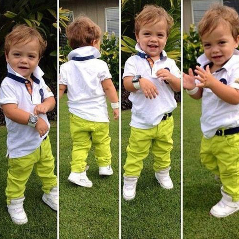 2016 fashion Kids Polo candy pants 2pcs summer baby Boys clothes children clothing children's 2 to 6Ages(China (Mainland))