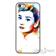 Audrey Hepburn Painted Art back skins mobile cellphone cases cover for iphone 4/4s 5/5s 5c SE 6/6s plus ipod touch 4/5/6