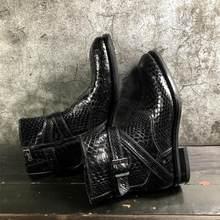 Sipriks Real Black Python Schoenen Voor Mannen Custom Naaien Welted Laarzen Zip Snake Skin Gents Pak Schoenen Formele Smoking Schoeisel 45(China)