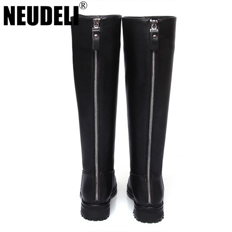 winter shoes genuine leather boots knee high tight