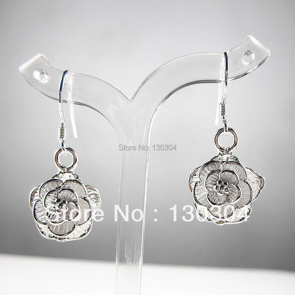 Charm Womens Ladys 1 Pair 925 Sterling Silver Rose Flower Hook Eardrop Dangle Earrings - Lucky Jewelry Store 130304 store