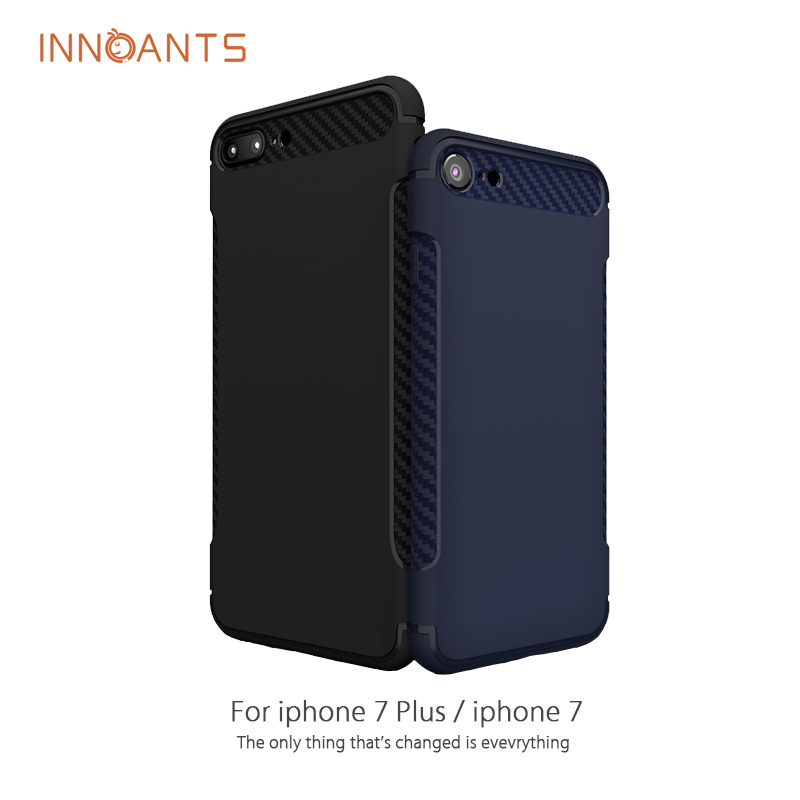 Original Innoants TPU Case For Apple iPhone 7 /iPhone 7 Plus Carbon Fiber Texture Anti-knock Phone Cover For Mobile Phone