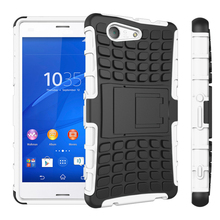 Coque For Sony Z3 Compact Cover Silicone & Plastic Shell Holder Stand Case For Sony Xperia Z3 Compact Case Z3 Mini 4.6 D5803 ^