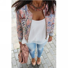 New Summer Fashion Women's Long Sleeve O-neck Coat Slim Retro Floral Print Short Casual Sports Jacket Outerwear