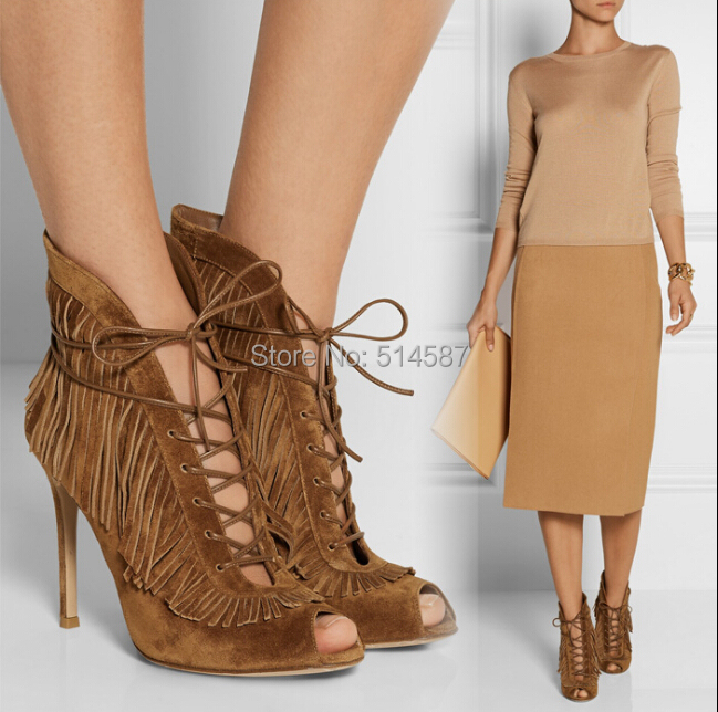 Designer 2015 Brown Tassel Lace-up Front Ankle Bootie High Heeled Peep Toe Vamp Style Dress Shoes Size 34-41 - Wuhan Catherine Store store