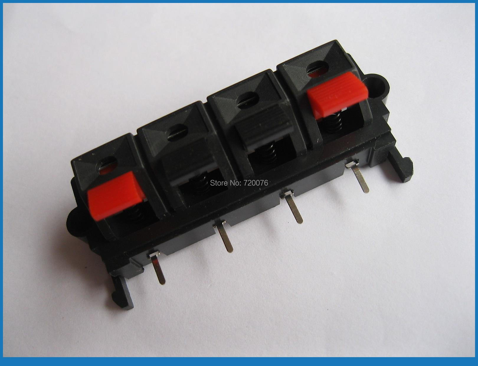 100 pcs WP Push Type Speaker Terminal Board Connector 58.0mmx20.0mm 4 pin WP4-19(China (Mainland))