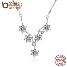 BAMOER 925 Sterling Silver Flowers Purple CZ Chain Necklace for Women Wedding Fine Jewelry PSN012(China (Mainland))